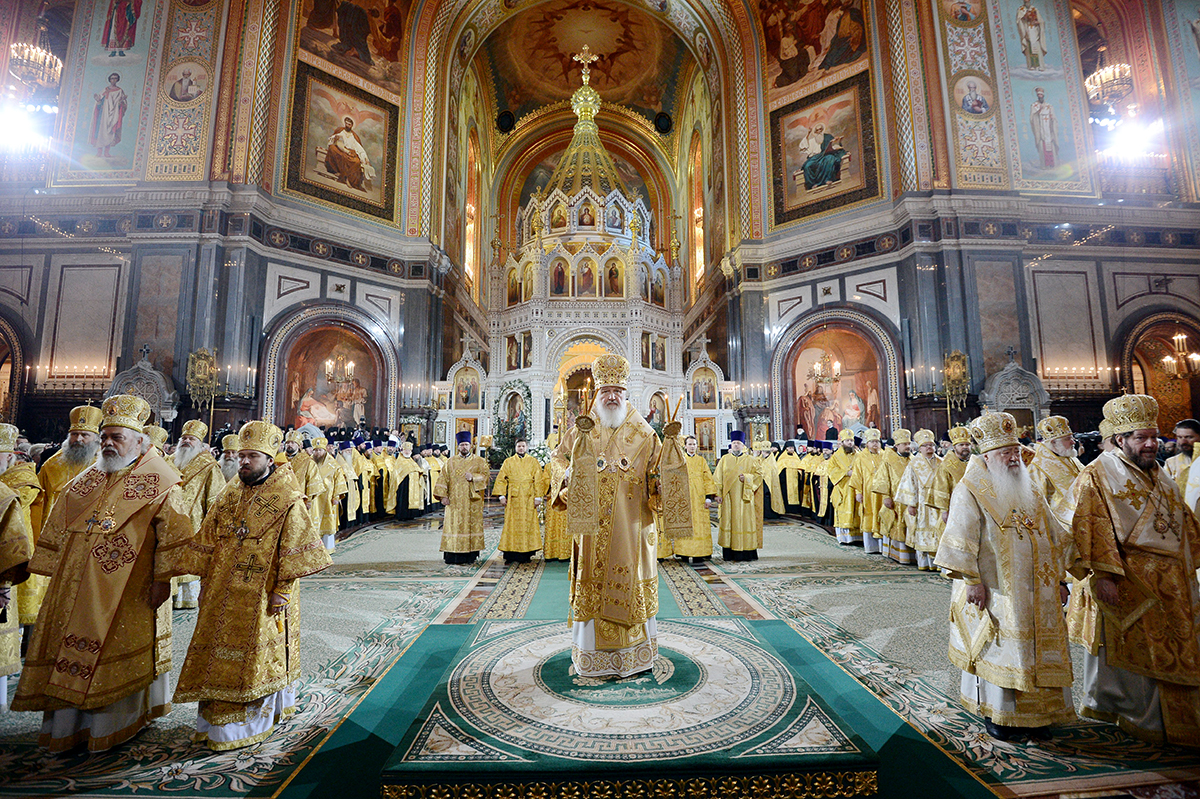 Cathedral of Christ Our Savior Moscow, His Holiness Patriarch Kirill celebrates Great Vespers at the ...