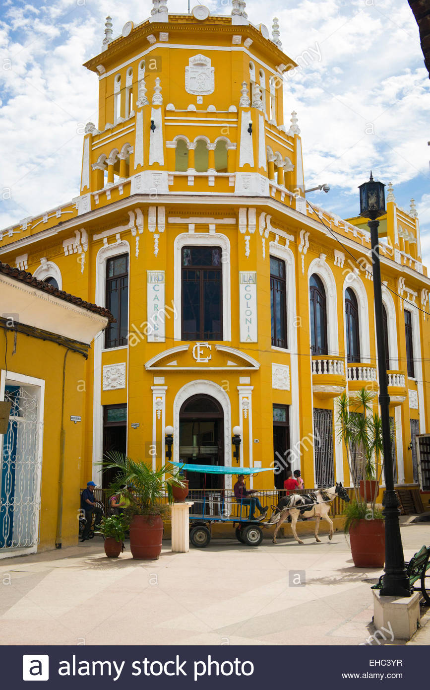 Colonia Española Building Sancti Spíritus, Cuba Sancti Spiritus Calle Independencia bright yellow painted TSD ...