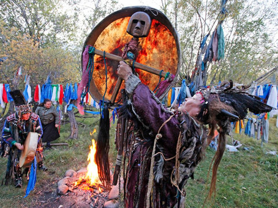 Centre for Tuvan Culture Kyzyl, Tuvan shamans participate in a ritual called