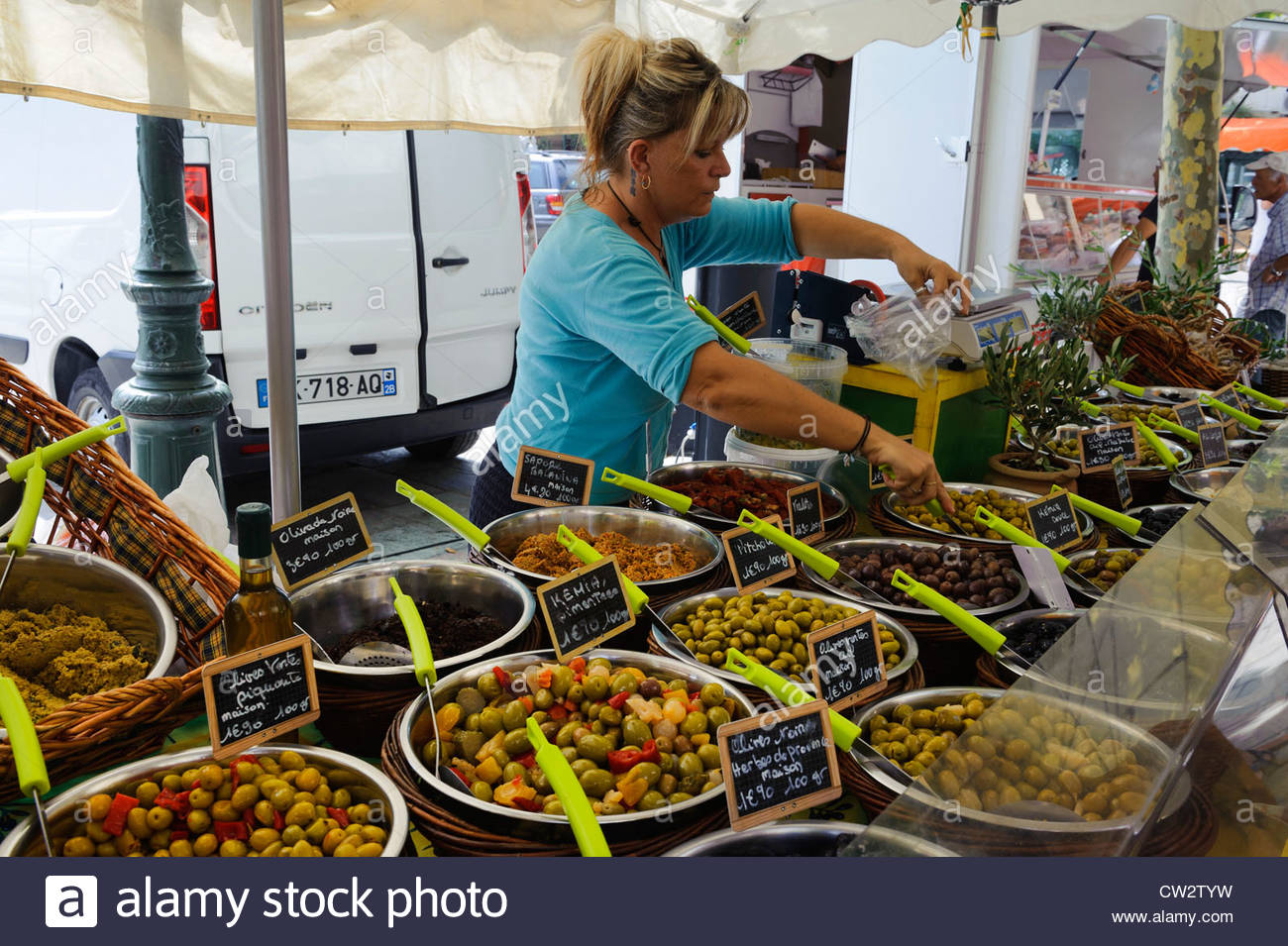 Château de Meursault Côte de Beaune, Market on Place du Marché in Bastia, Corsica. France Stock Photo ...