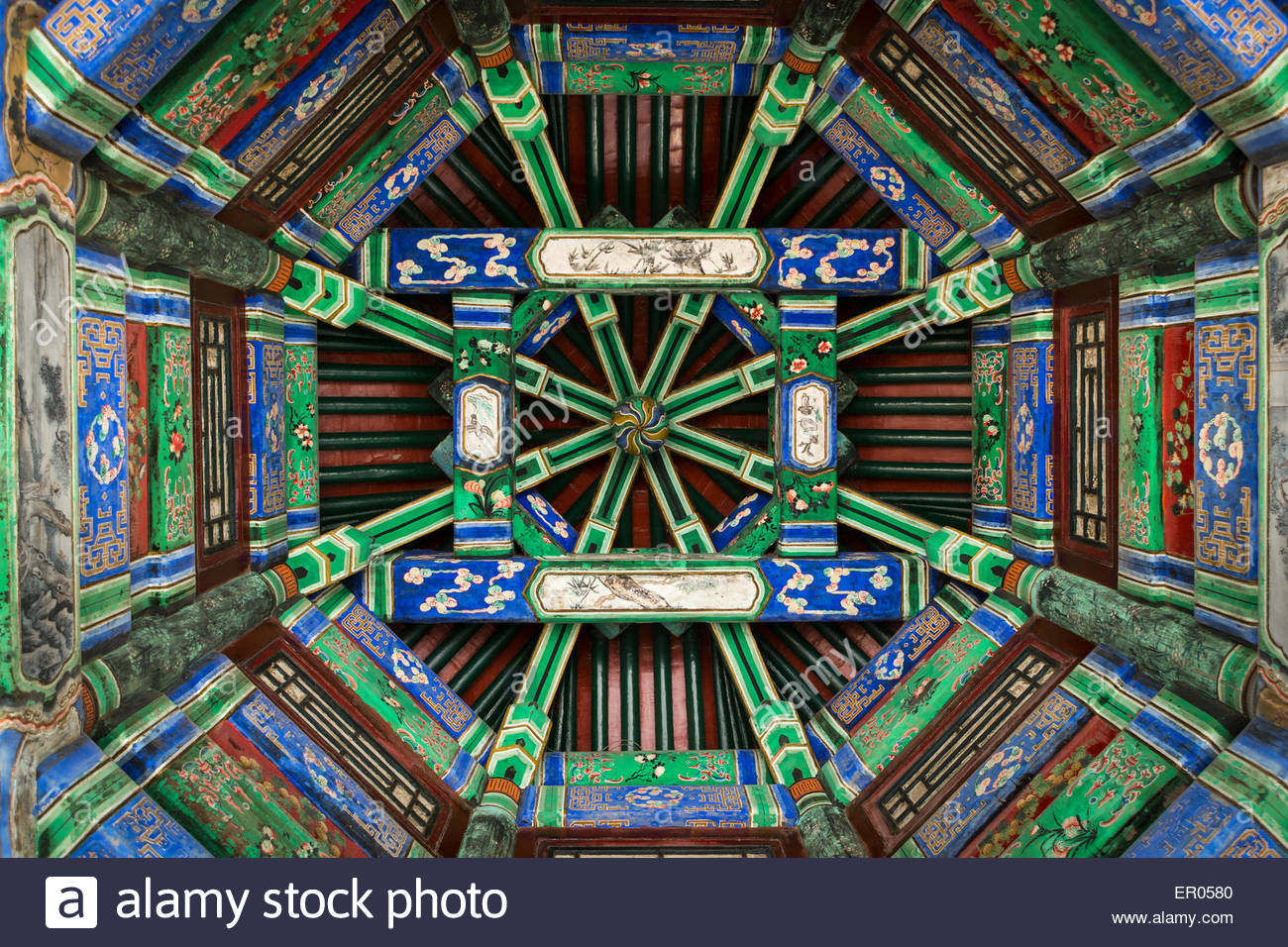 Chairman Mao Memorial Hall Běijīng, Detail of pavilion ceiling in the Long Corridor at the Summer ...