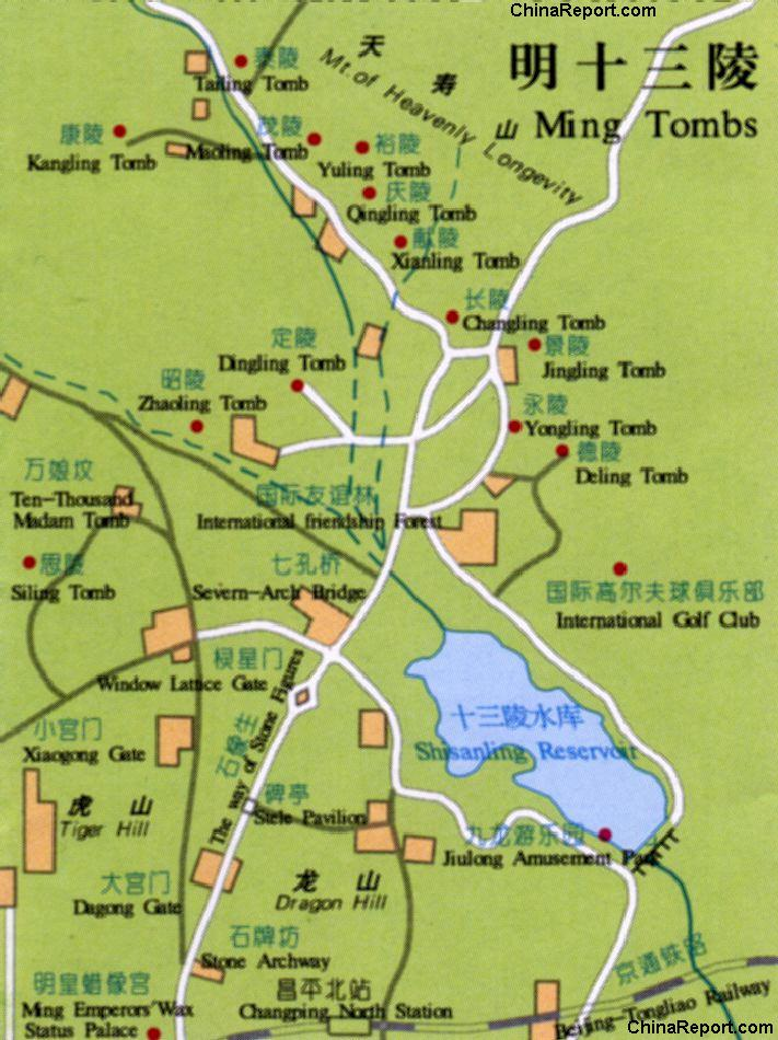 China Railway Museum Běijīng, Beijing,13 Ming Tombs - Shisan Ling - Full Site Map (All Tombs ...