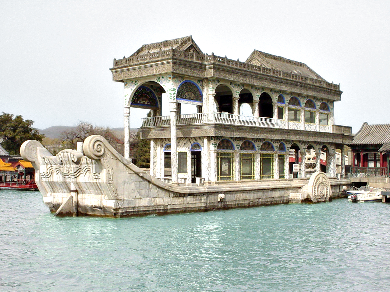 China Science & Technology Museum Běijīng, a Marble Boat on the water at the Summer Palace (Beijing, China) | WAF