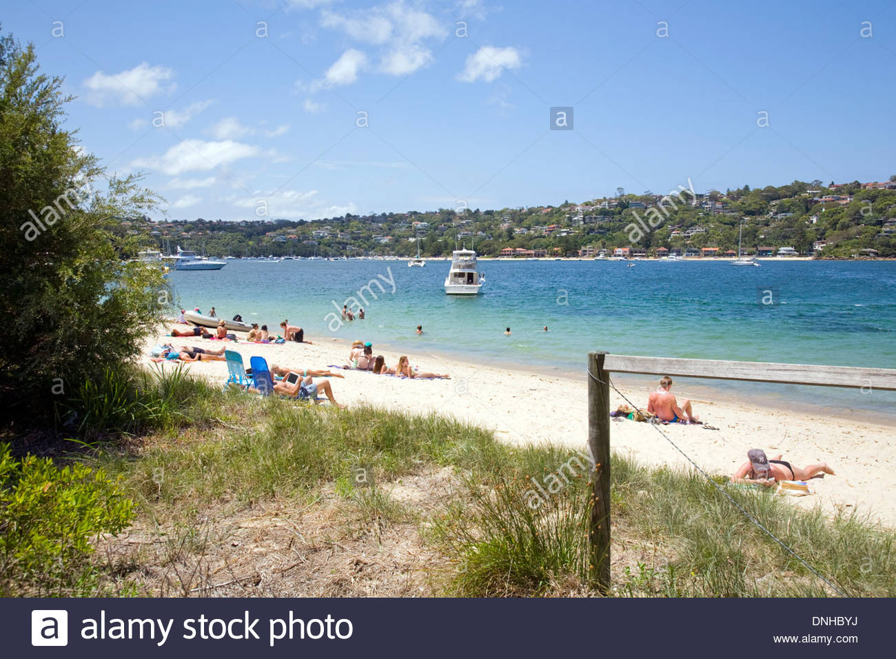 Chinamans Beach Sydney, Chinamans beach in Mosman looking across middle harbour to ...
