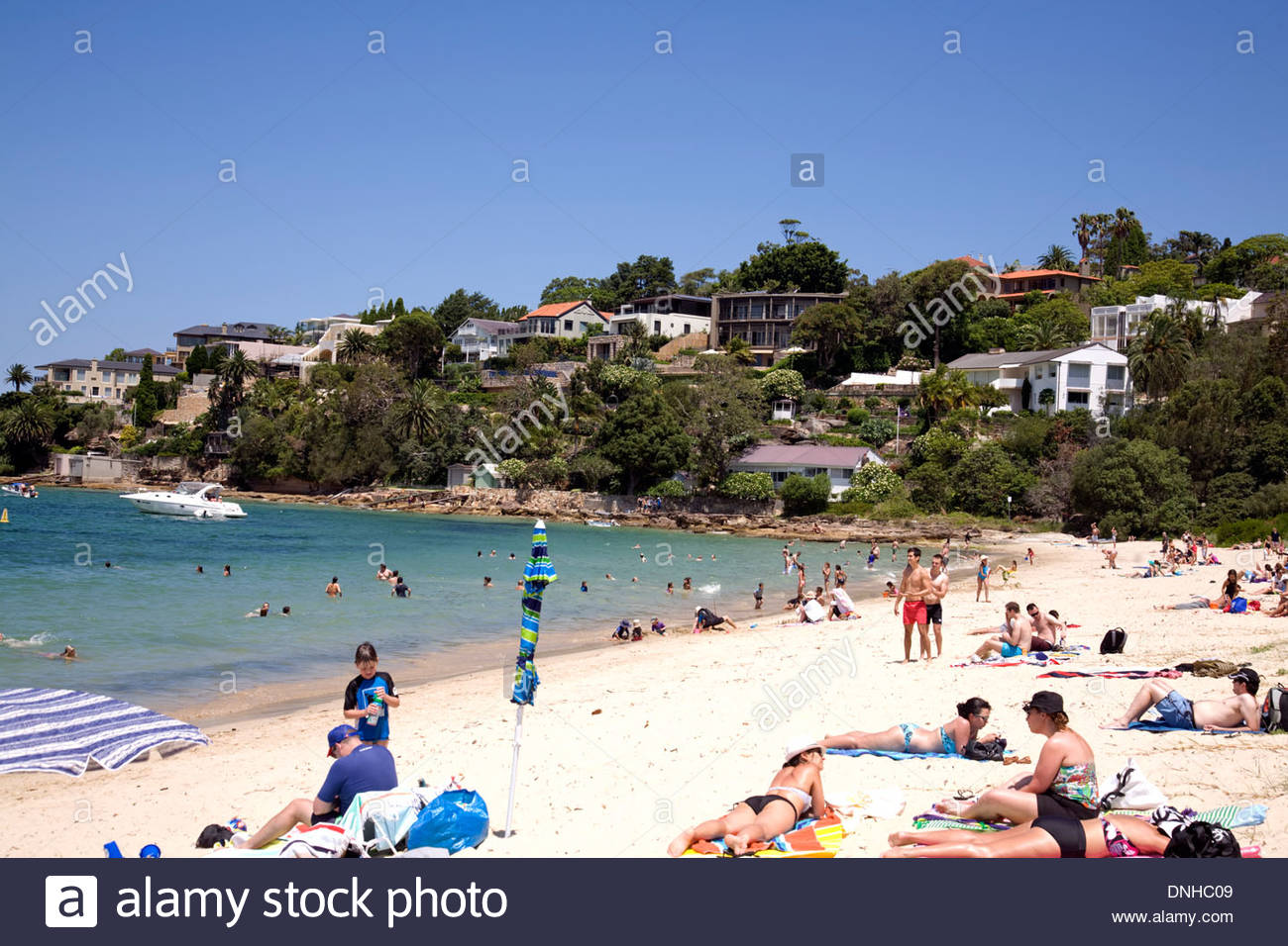 Chinamans Beach Sydney, Chinamans beach in Mosman on a summers day with views of middle ...