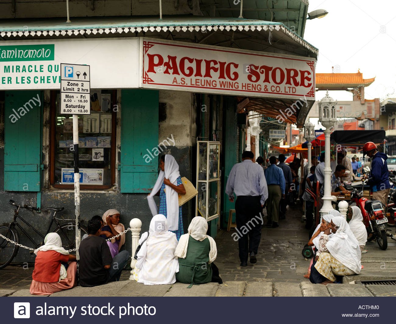Chinatown Port Louis, Busy Street Pacific Store Parking Sign Chinatown Port Louis ...
