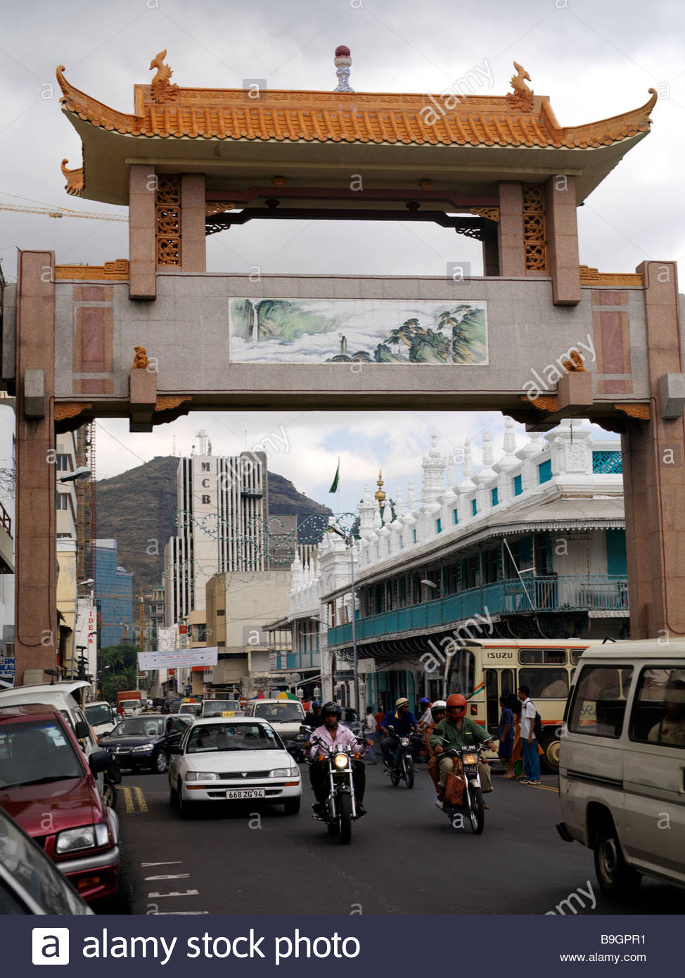 Chinatown Port Louis, Port Louis Mauritius Arch in Chinatown with Motorcyclists and ...