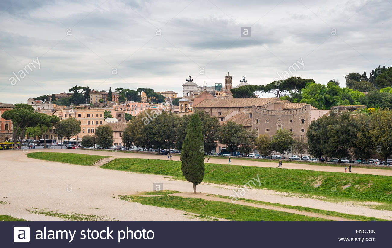 Circo Massimo Rome, Panoramic view of Rome city centre from Circo Massimo with ...