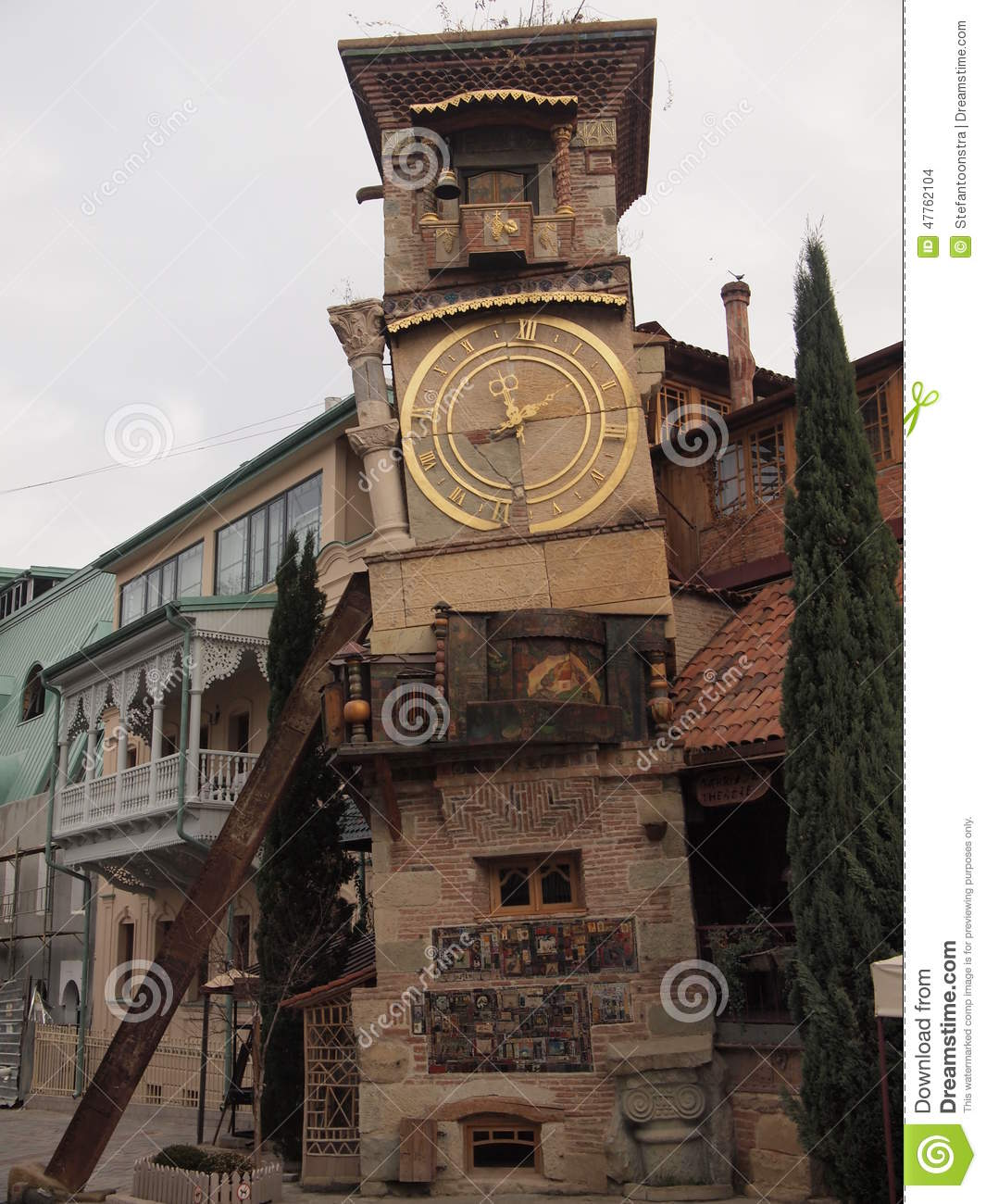 Clock Tower Tbilisi, Leaning Clock Tower (Tbilisi, Georgia) Stock Photo - Image: 47762104