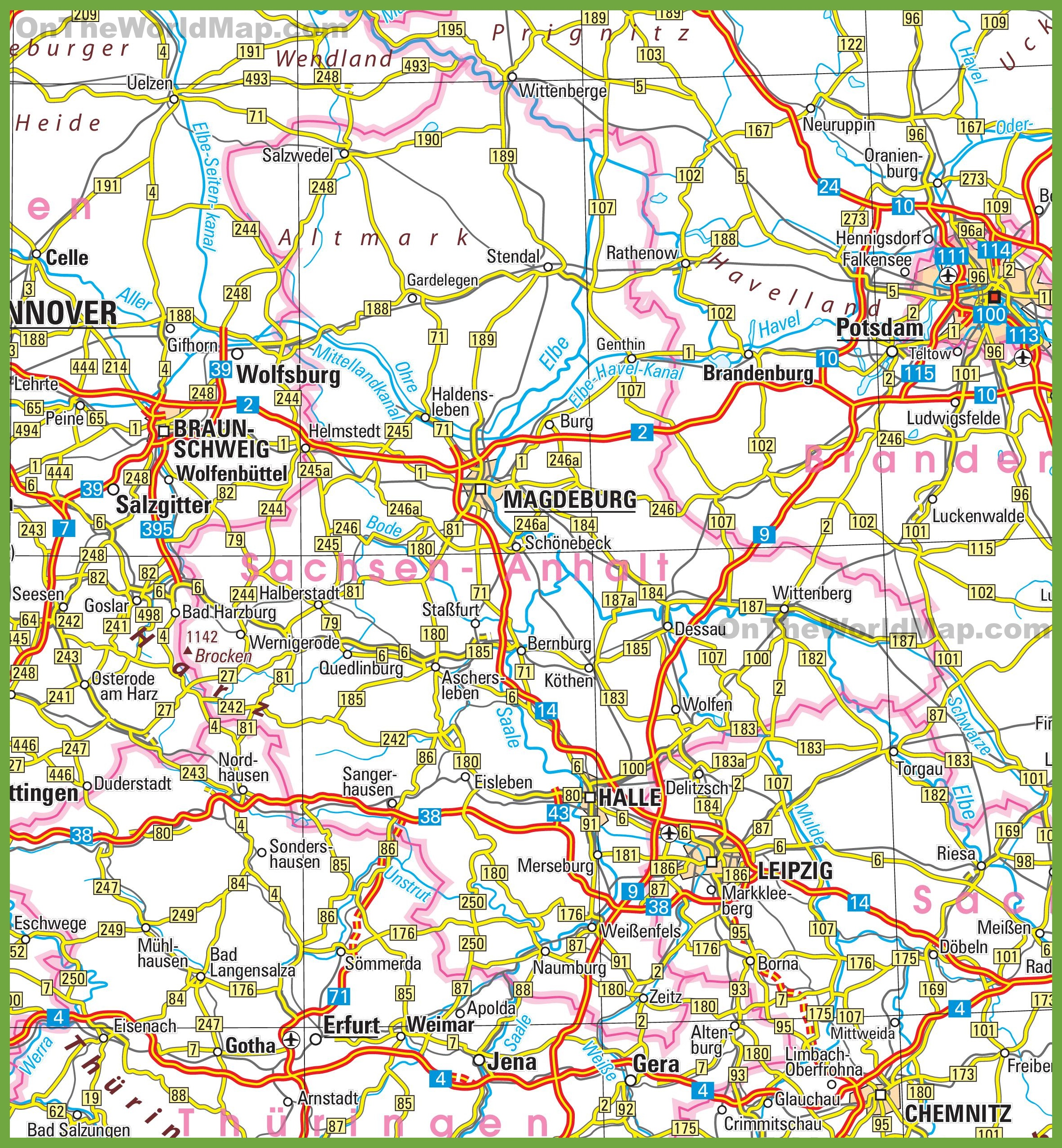 The Anger Saxony, Saxony-Anhalt and Thuringia, Saxony-Anhalt road map