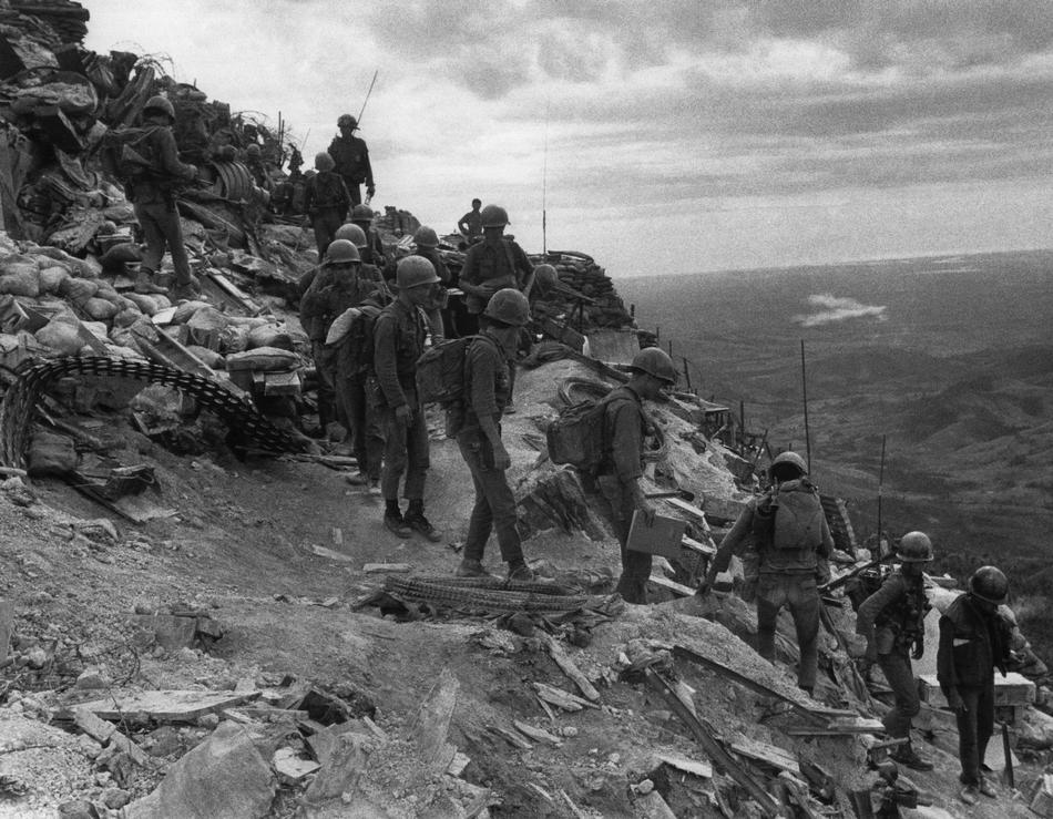 Con Thien Firebase Demilitarised Zone, South Vietnamese troops move out on patrol from Firebase Fuller, a ...