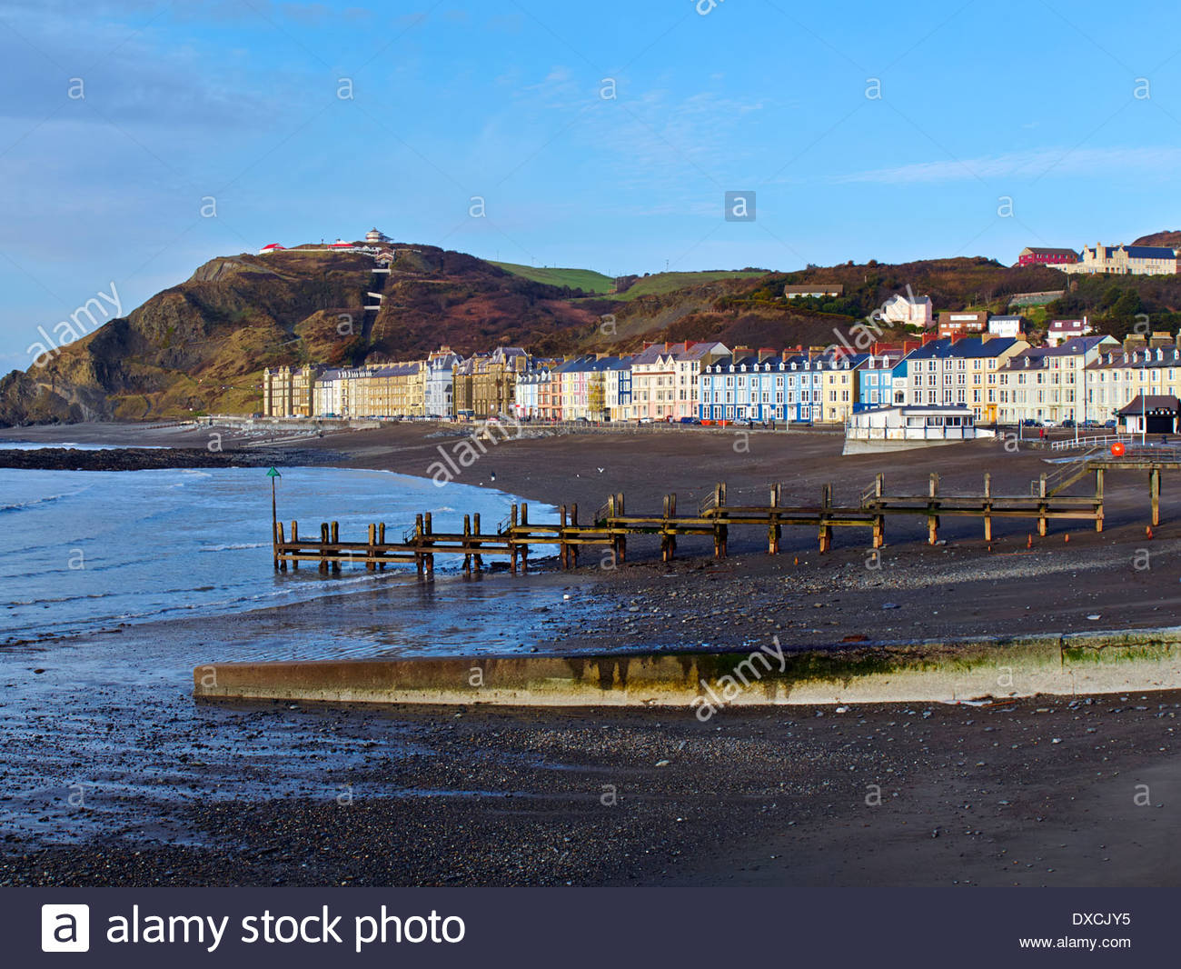 Constitution Hill Mid-Wales, looking across cardigan bay to marine terrace and constitution ...