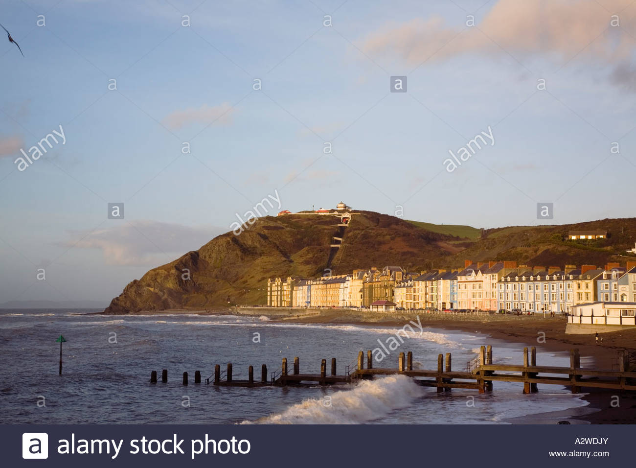 Constitution Hill Mid-Wales, Beach and Victorian seafront buildings by
