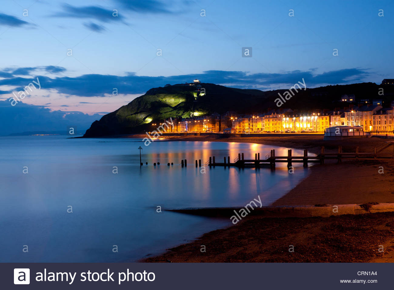 Constitution Hill Mid-Wales, View of Marine Terrace promenade, beach and Constitution Hill at ...