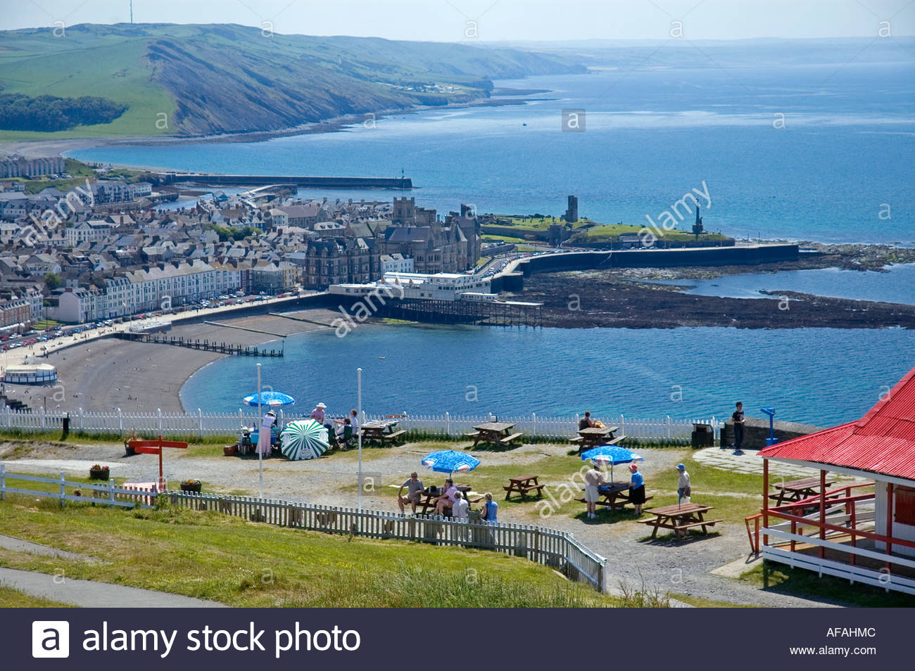 Constitution Hill Mid-Wales, View of Aberystwyth from Constitution Hill, Ceredigion, Wales, UK ...