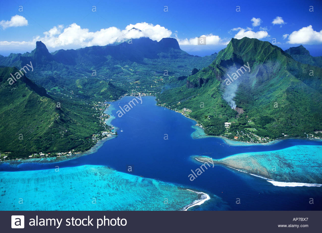 Cook's Bay Moorea, Aerial view of Cooks Bay and mountains on Island of Moorea ...