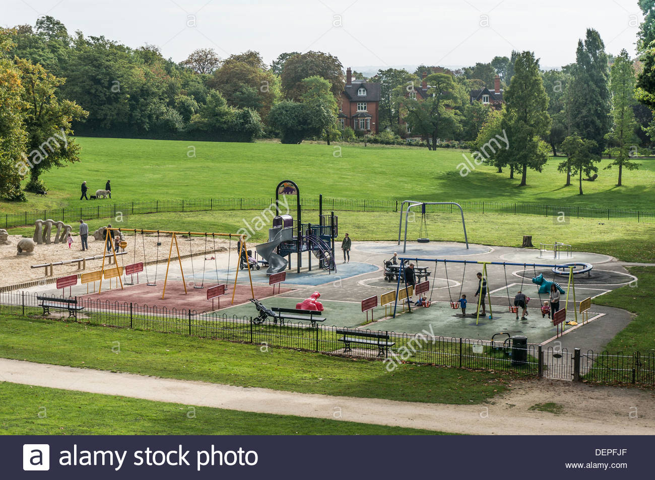 Crystal Palace Park London, Busy childrens' play area in Crystal Palace park, London, England ...