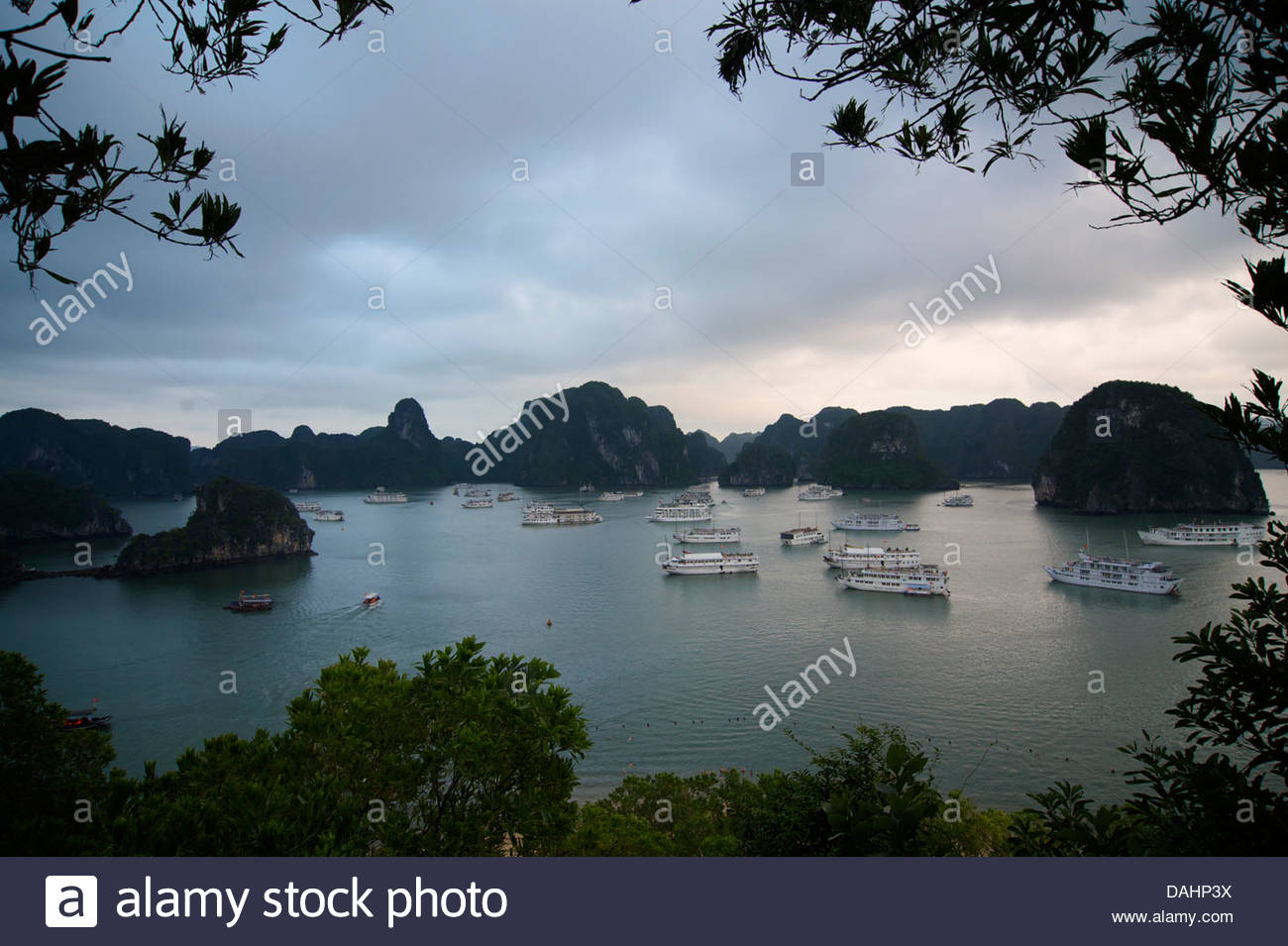 Dao Titop Halong Bay, View from Dao Titop Island, Halong Bay, Vietnam. Tourist boats ...