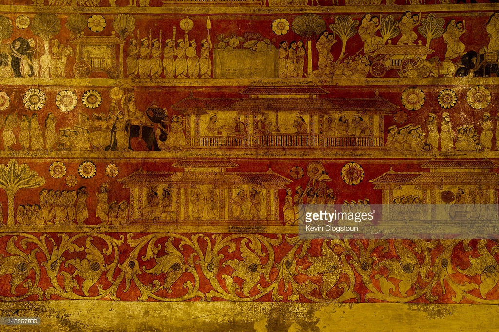 Degal Doruwa Raja Maha Vihara Kandy, Mural From 18th Century Depicting Social Life In The Kandyan ...