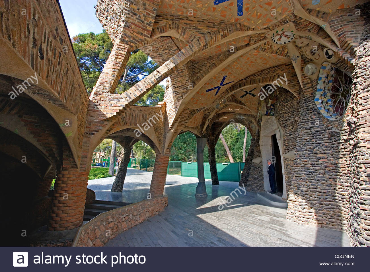 Disseny Hub Barcelona, Gaudi's Colonia Guell Church, Barcelona, Spain Stock Photo ...