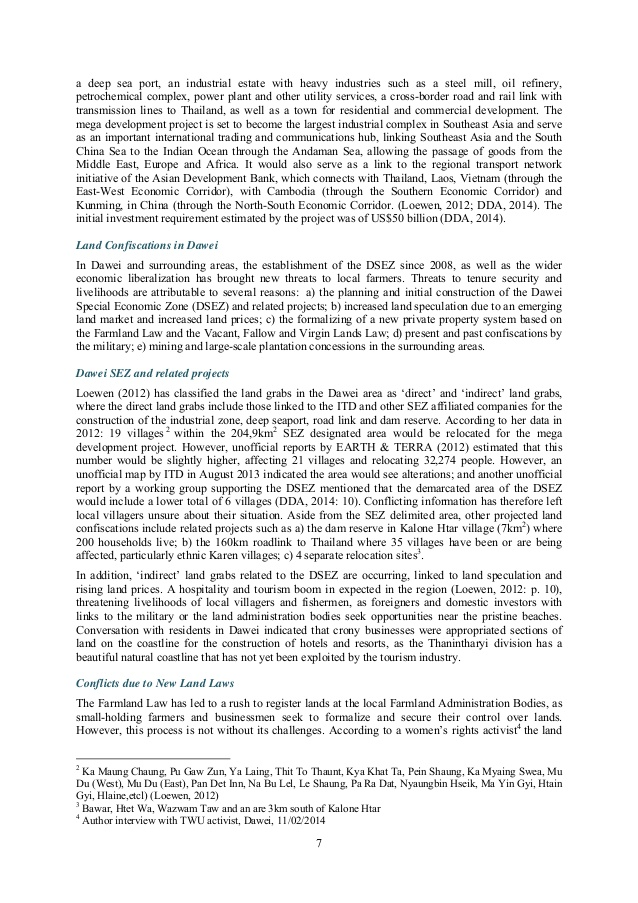 Division Development Committee Dawei, Land Confiscations and Collective Action in Myanmar's Dawei Special E…