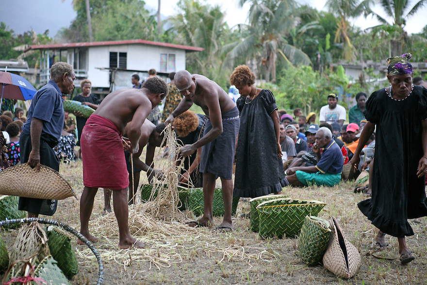 East New Britain Historical & Cultural Centre Kokopo, Tolai men distribute shell money at a death ceremony, Matupit ...