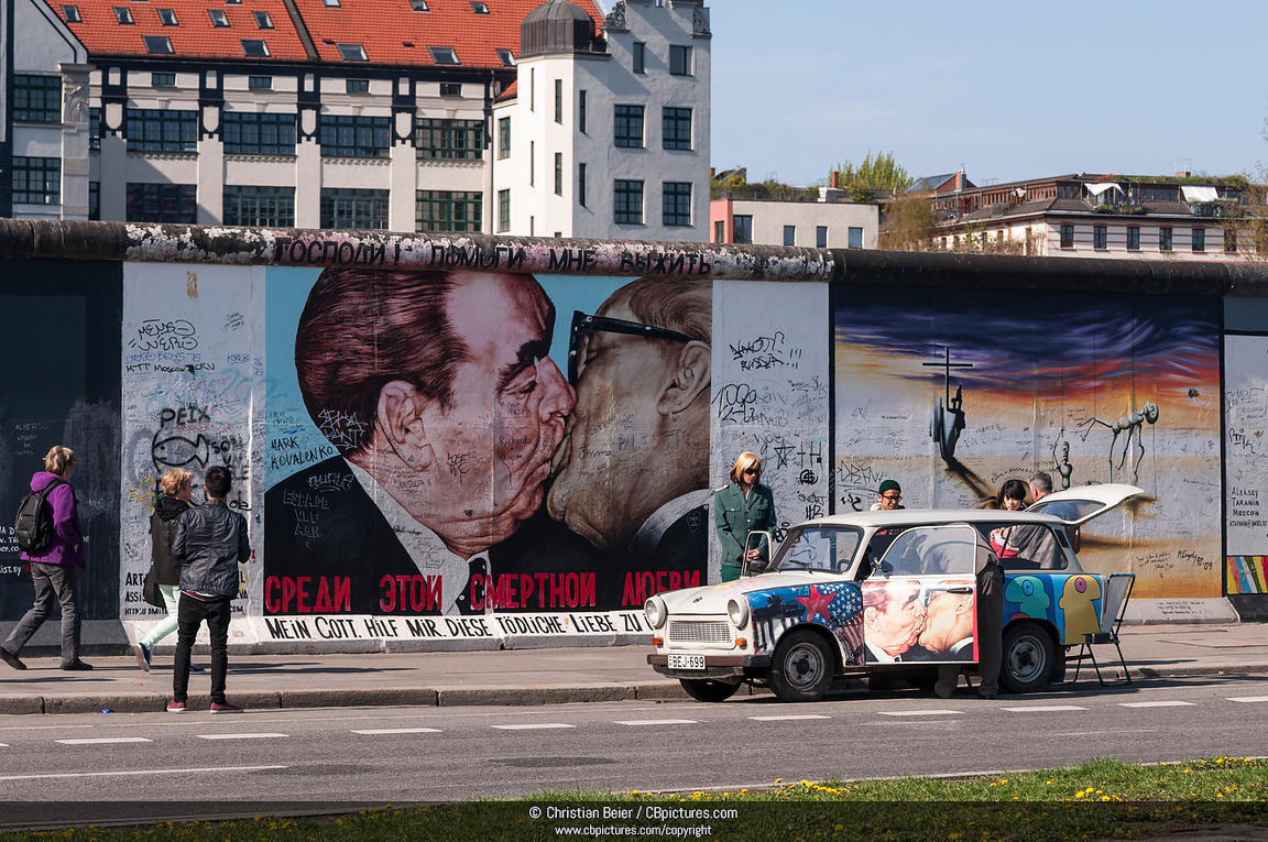 East Side Gallery Berlin, Photo/Picture Trabant before the wall painting Brotherly kiss ...