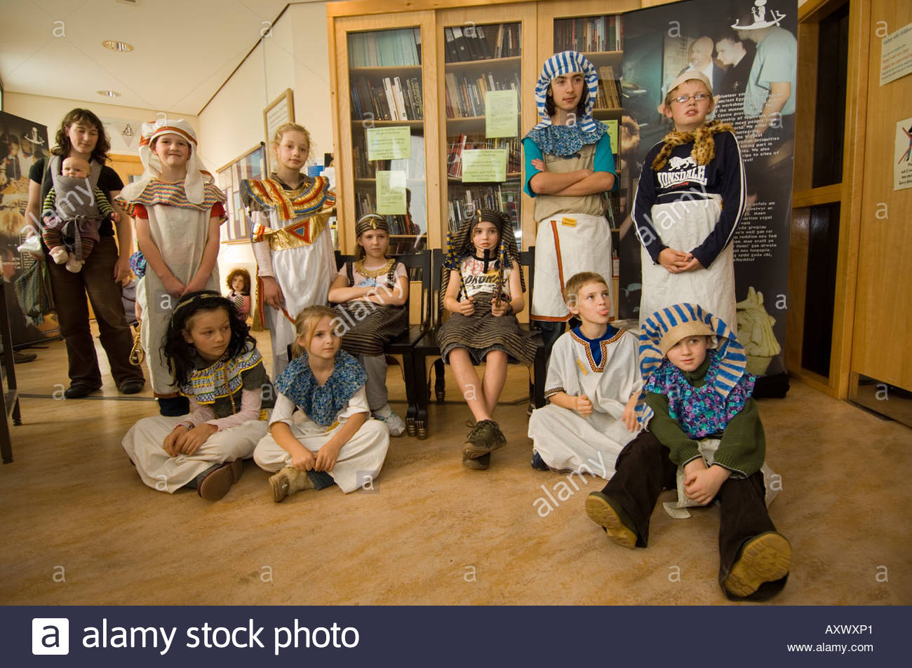 Egypt Centre Swansea (Abertawe), Group of children dressed as Egyptian rulers and servants at The ...
