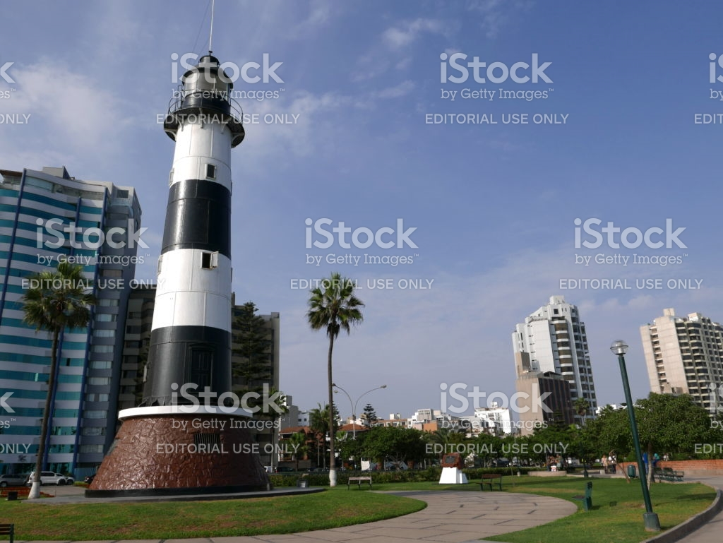 El Faro de la Marina Lima, Scenic View Of A Lighthouse In El Faro De La Marina Park Located ...