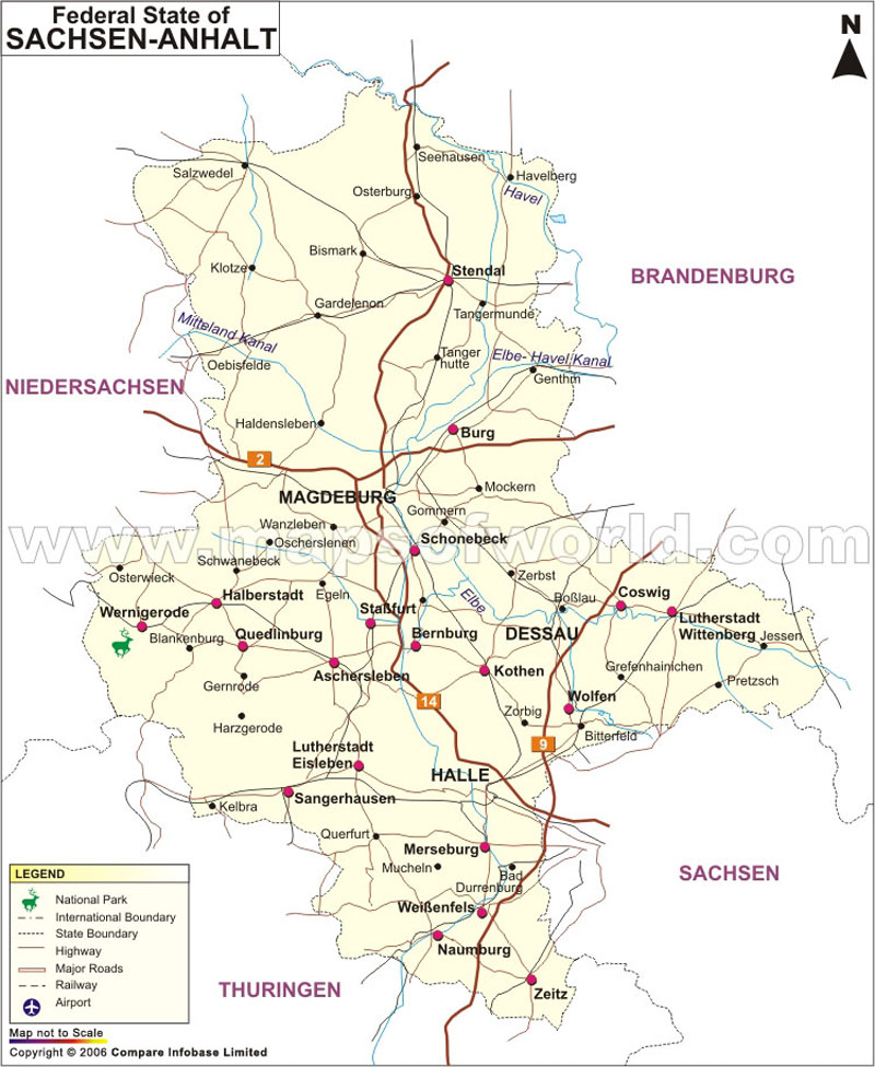 Regional and Button Museum Saxony, Saxony-Anhalt and Thuringia, Anhalt Map