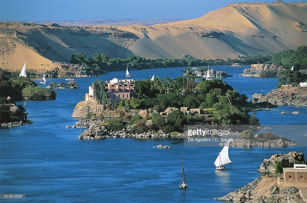Elephantine Island Aswan, Felucca On The Nile River Near Elephantine Island Aswan Egypt ...