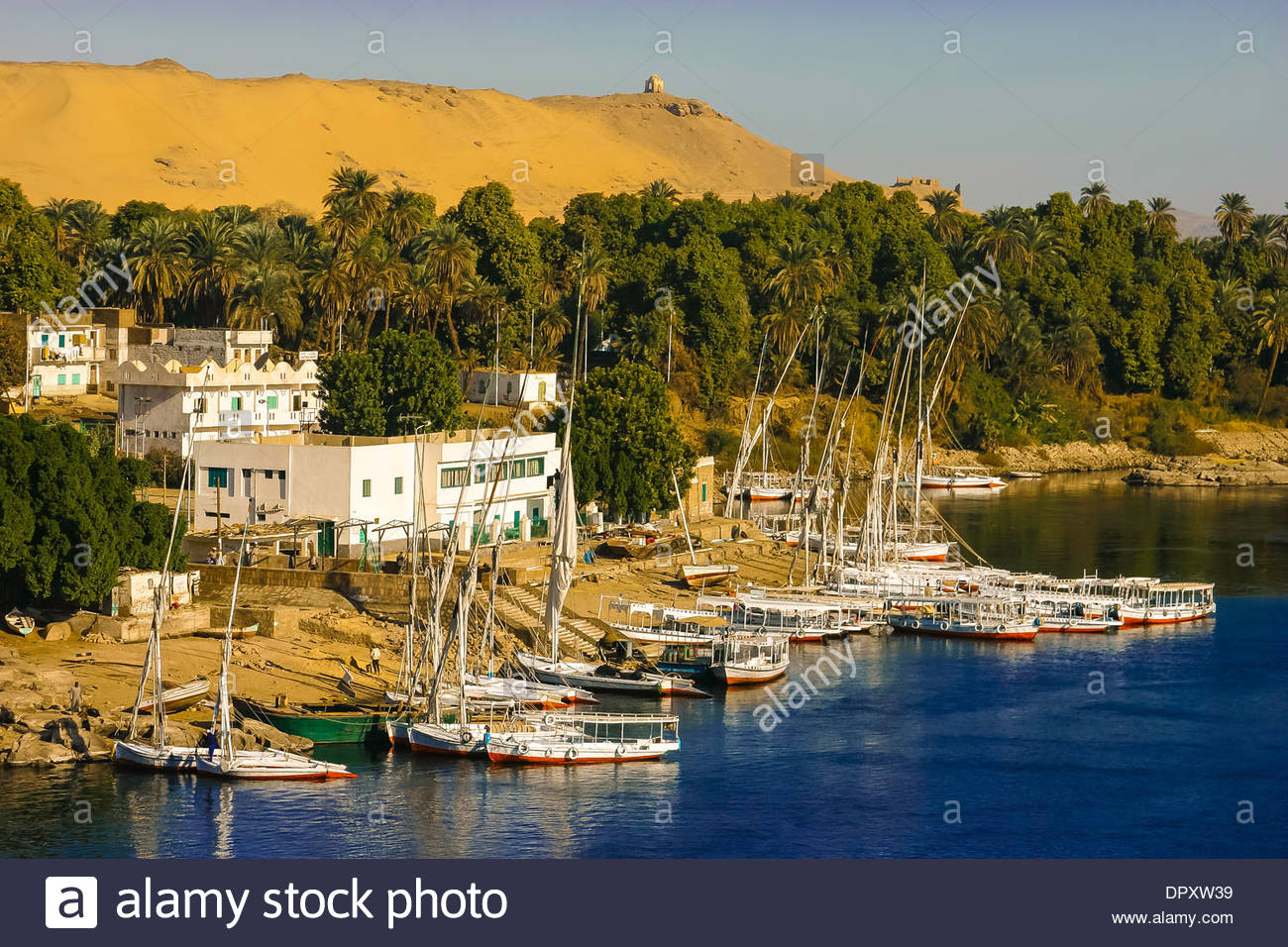 Elephantine Island Aswan, Feluccas on the Nile River near Elephantine Island in Aswan, Egypt ...
