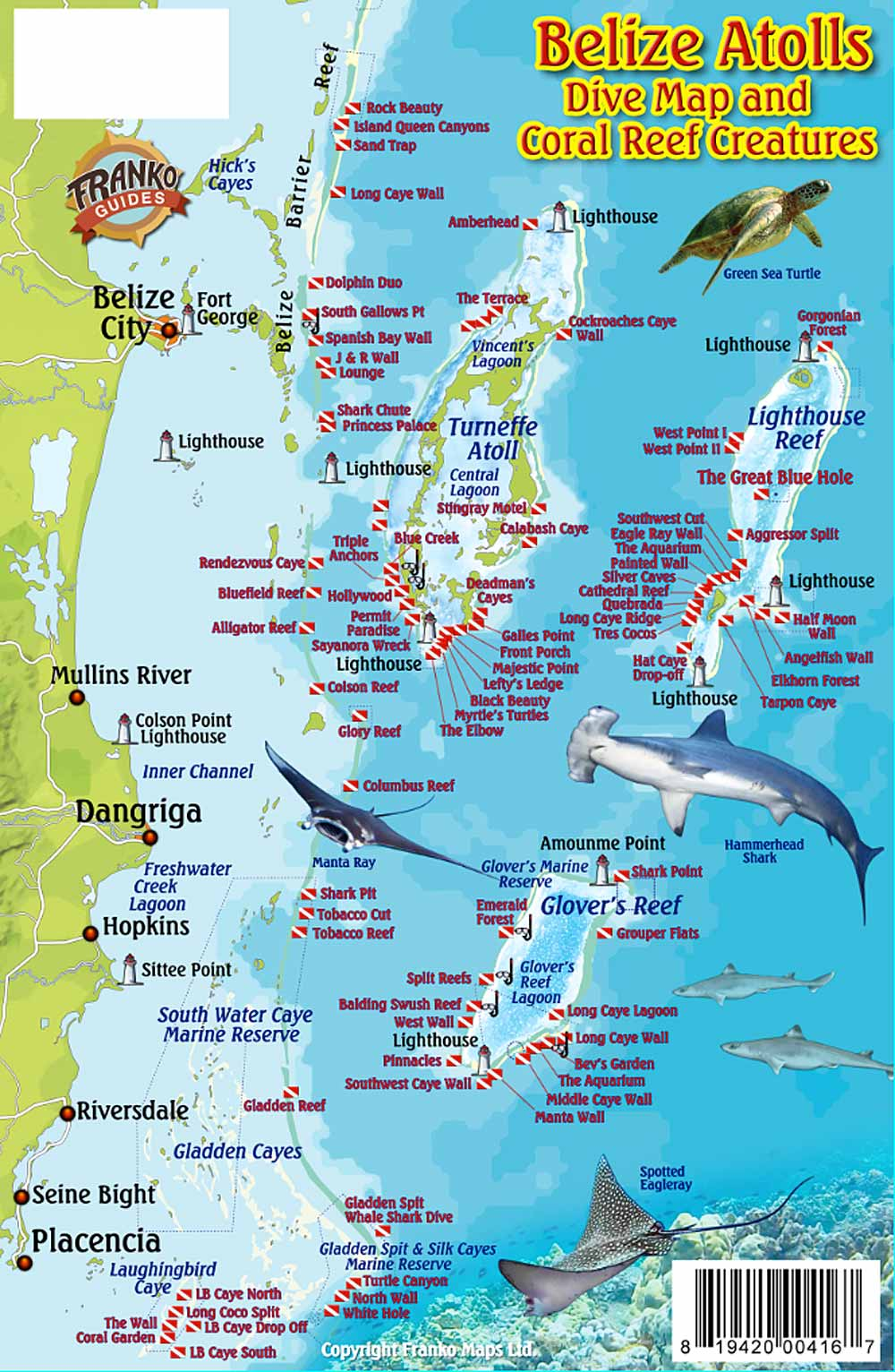 Emerald Forest Reef The Cayes and Atolls, Belize Maps, Dive/Fish ID Cards