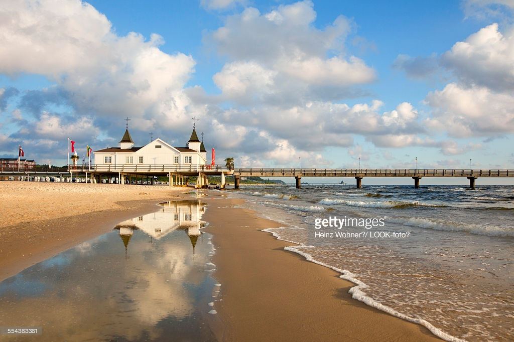 Firebirds The Baltic Coast and Pomerania, Pier Reflecting In The Water Ahlbeck Usedom Island Baltic Sea ...