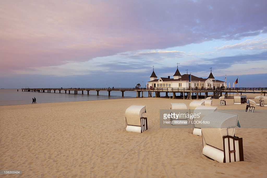 Firebirds The Baltic Coast and Pomerania, Beach Chairs And Pier In The Evening Ahlbeck Seaside Resort Usedom ...