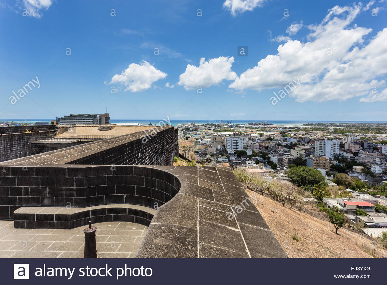 Fort Adelaide Port Louis, Fort Adelaide overlooking the Port Louis city in Mauritius capital ...