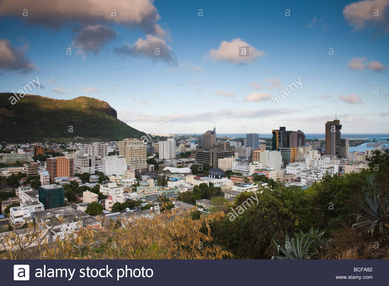 Fort Adelaide Port Louis, Mauritius, Port Louis, city view from Fort Adelaide, dawn Stock ...