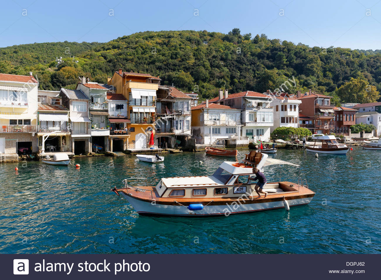 Galata Mevlevihanesi Istanbul, Houses with boat garages on the shore of the Bosphorus or Bosporus ...