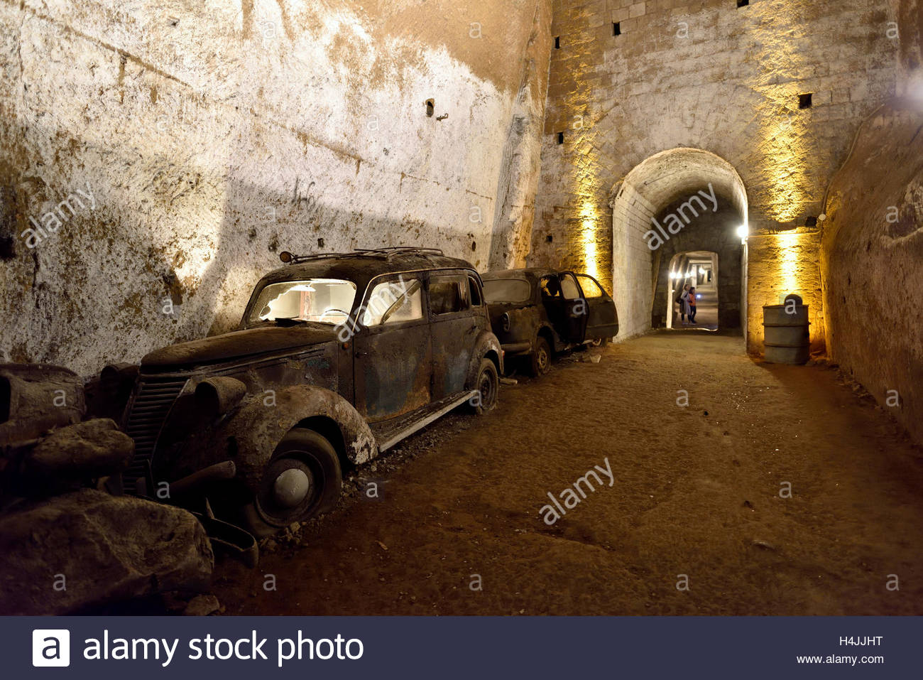 Galleria Borbonica Naples, Old vintage cars in the Galleria Borbonica, Bourbon Tunnel, Naples ...