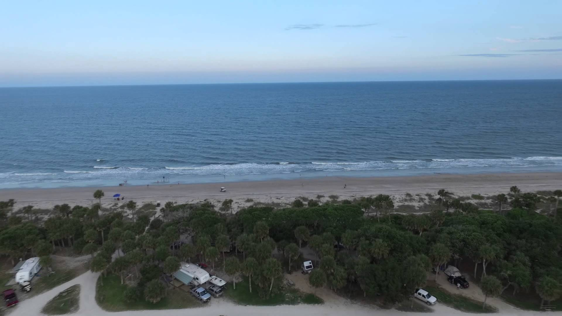 Geechie Boy Market and Mill Charleston, Aerial Over Edisto Beach State Park Campground with Flying Camera ...