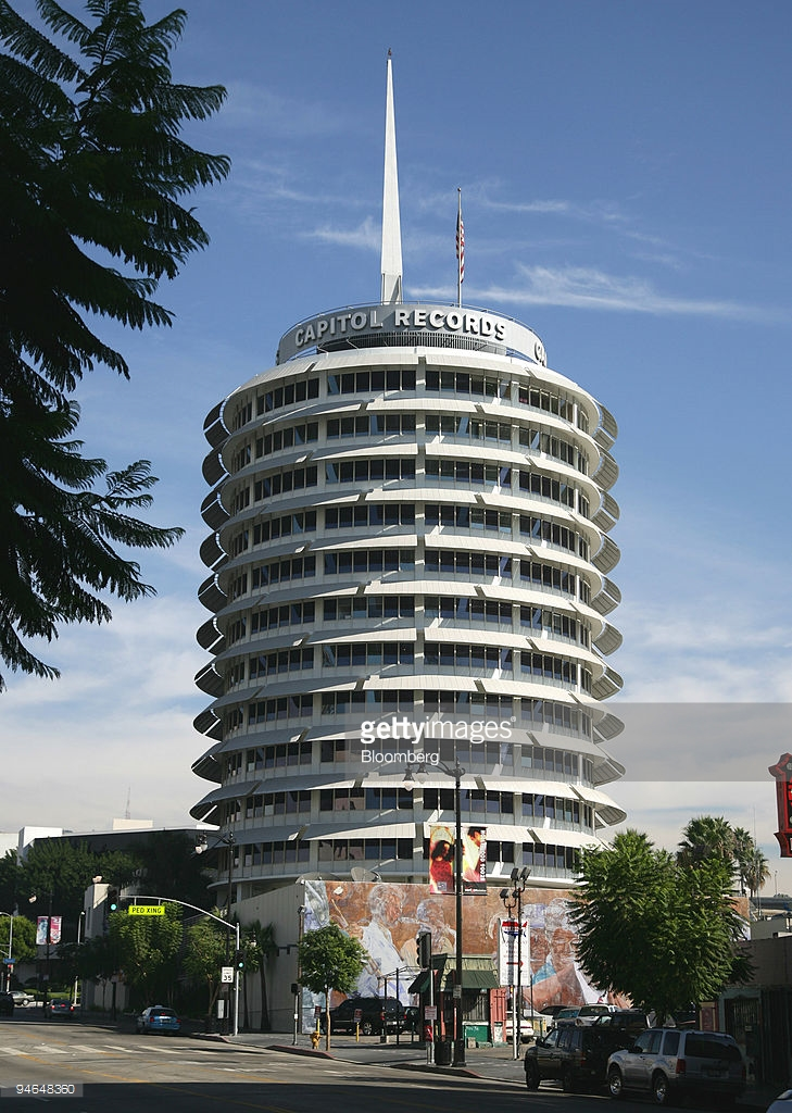 Giant Orange Los Angeles to Barstow, The Capitol Tower building, home of the Capitol Records labe ...