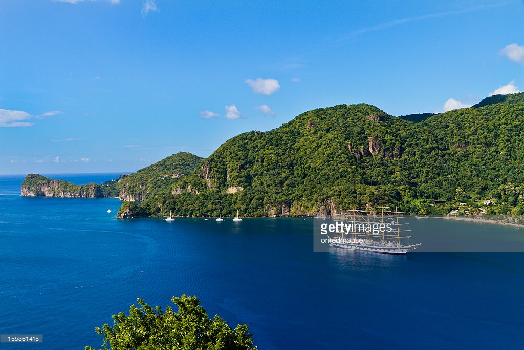 Grand Bay Soufriere & Southwest Coast, Soufriere Bay St Lucia Stock Photo | Getty Images