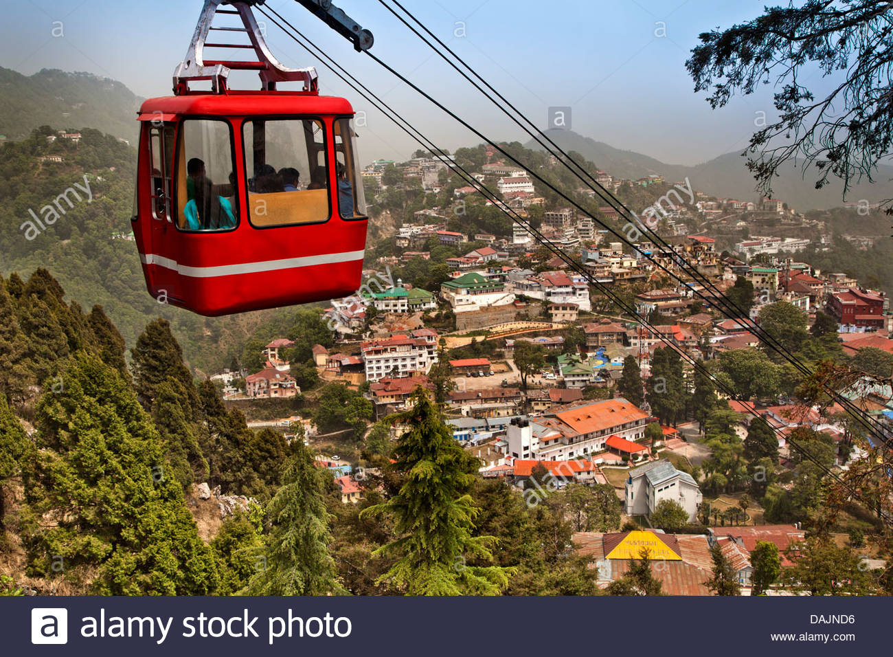 Gun Hill Mussoorie, Overhead Cable Car houses in the background, Gun Hill, Mussoorie ...