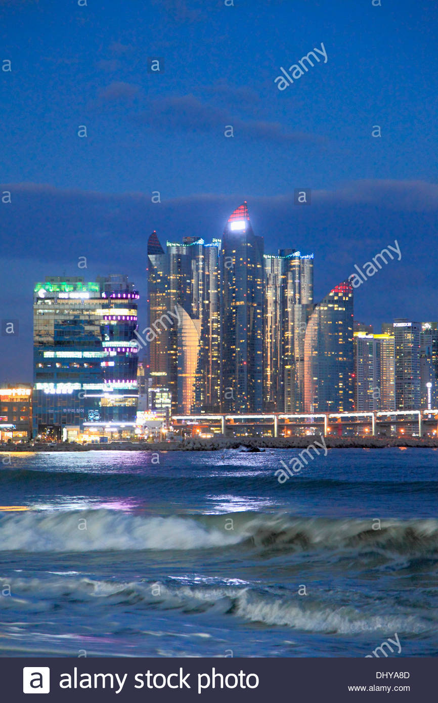 Gwangalli Beach Busan, South Korea, Busan, Gwangalli Beach, skyline, skyscrapers Stock ...