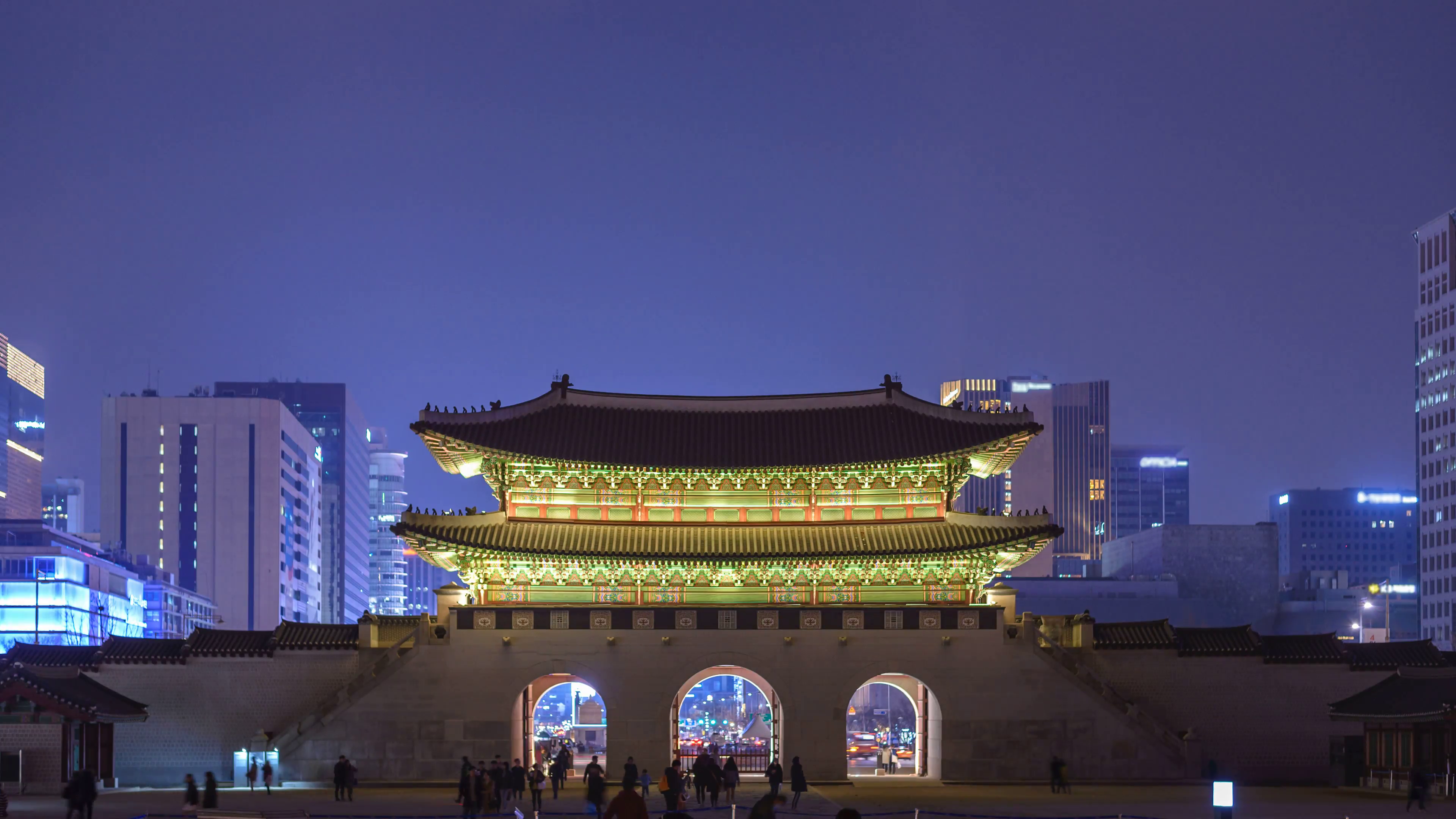Gwanghwamun Seoul, Timelapse at Gwanghwamun Gate by night, Seoul, South Korea, 4K ...