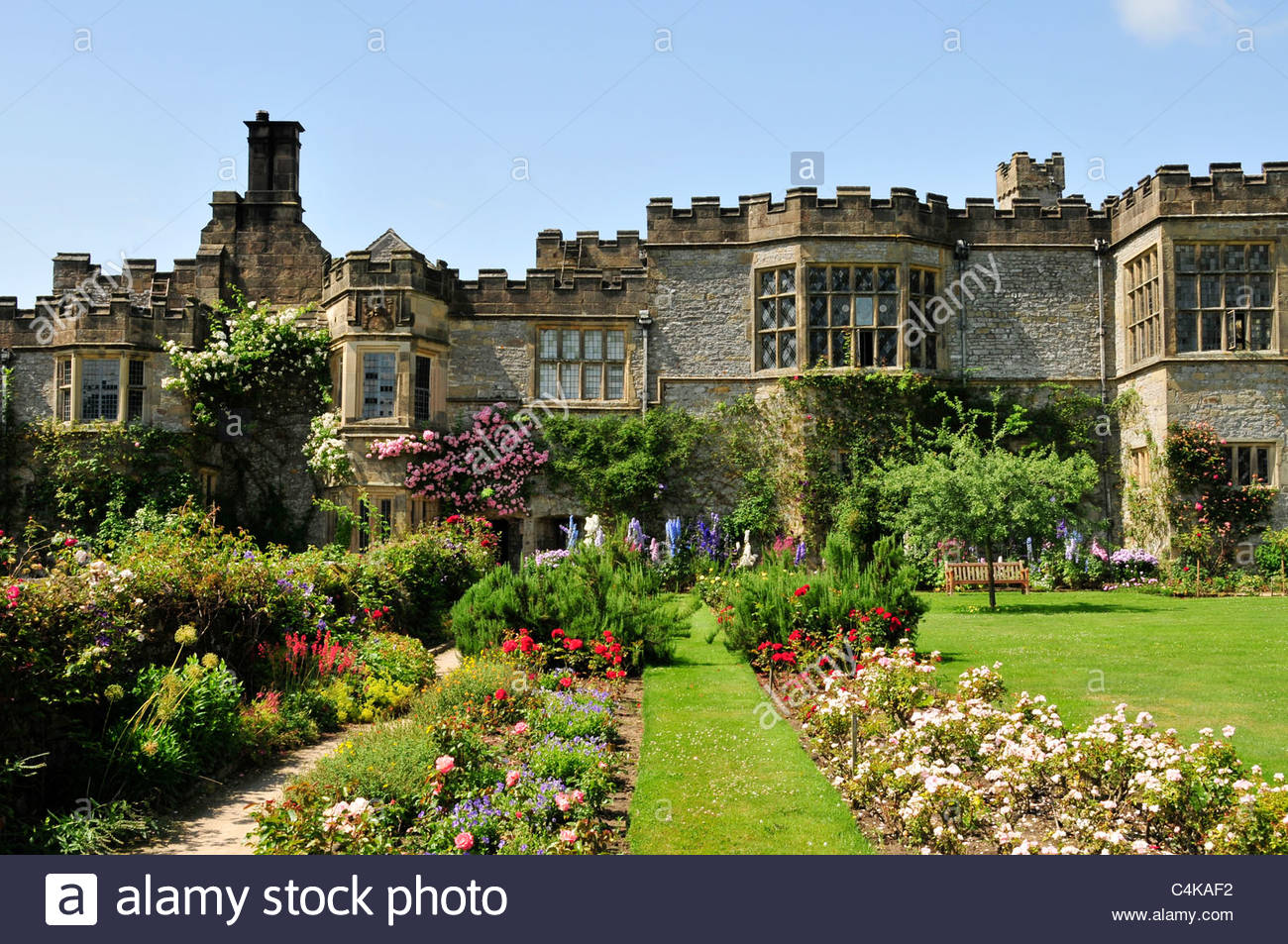 Haddon Hall Bakewell, Tourist attraction Haddon Hall near Bakewell in Derbyshire front ...