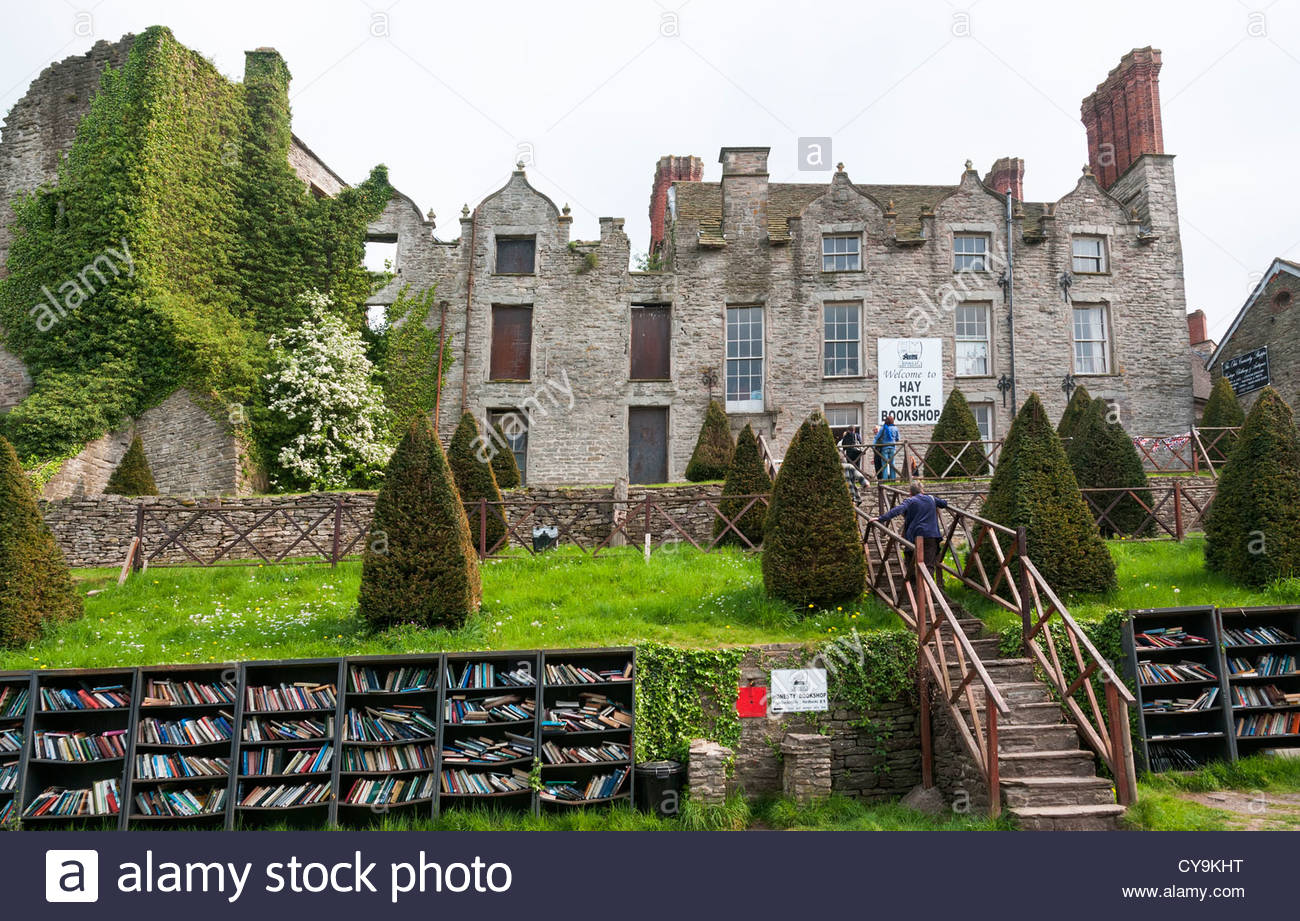 Hay Castle Mid-Wales, Wales, Hay-on-Wye, Castle Bookshop Stock Photo, Royalty Free Image ...