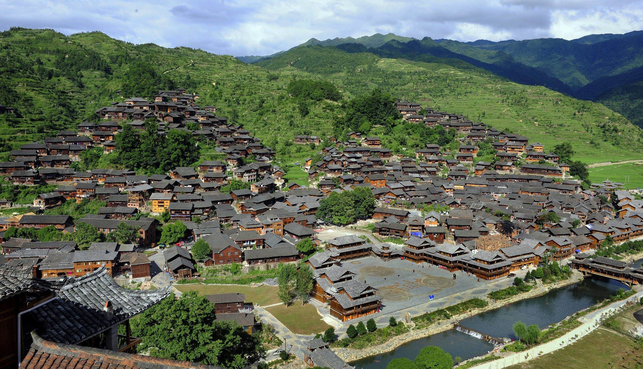 Heavenly Lake The Silk Road, An aerial view of Xijiang Miao Village in southwest China's ...