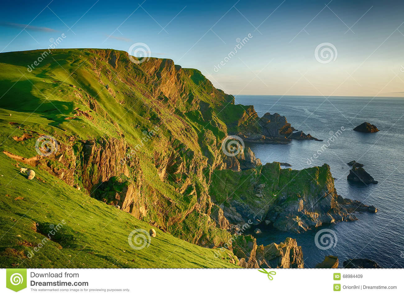Hermaness Nature Reserve Unst, Sunset Hermaness Nature Reserve Unst (Shetland) Stock Photo ...