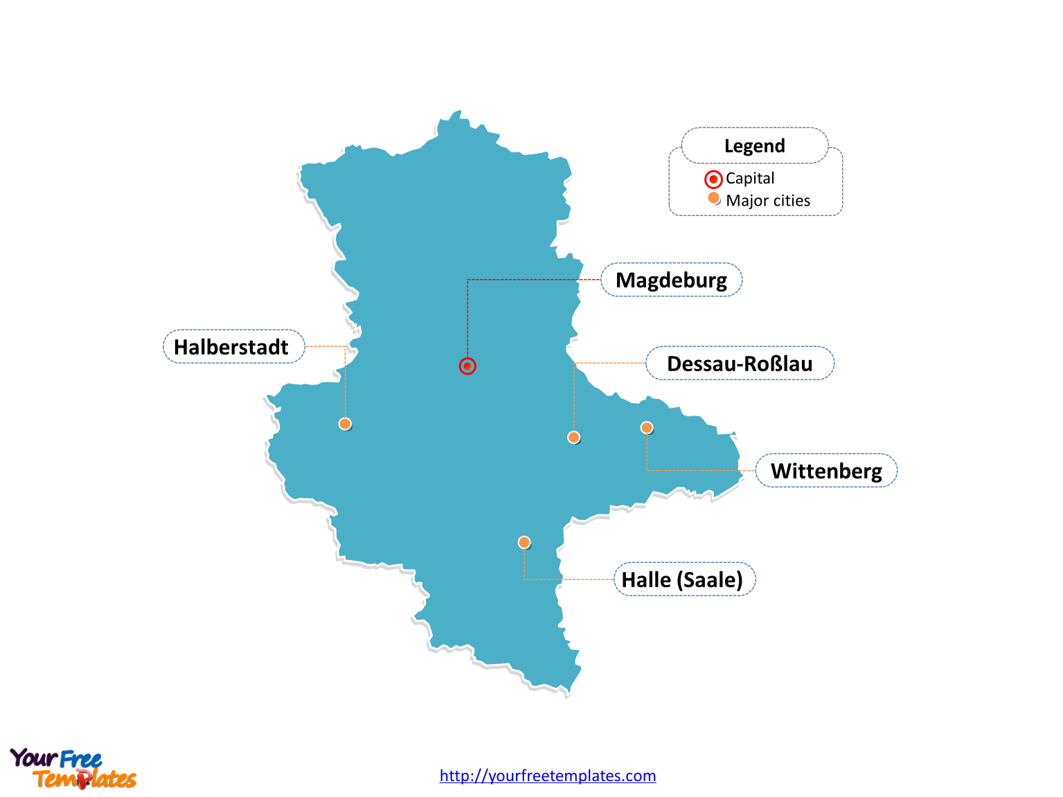 Verrätergasse Saxony, Saxony-Anhalt and Thuringia, Free Saxony-Anhalt Map Template - Free PowerPoint Templates